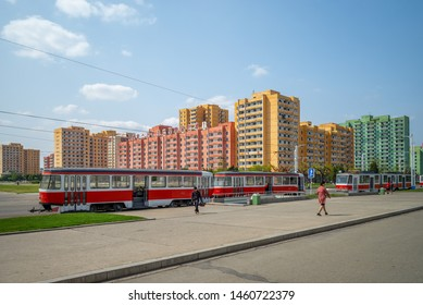 Pyongyang, North Korea - April 29, 2019: street view of pyongyang, the capital and largest city of the Democratic People's Republic of Korea (DPRK)