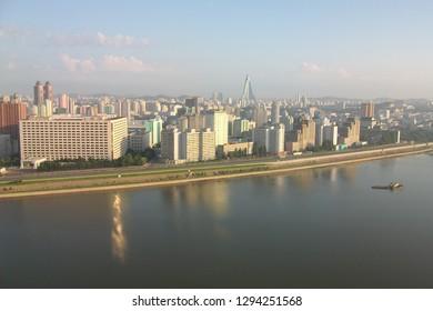 Pyongyang, North Korea - AUG 2012: The morning skyline view in Pyongyang City