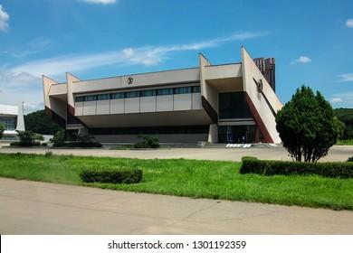 Pyongyang, North Korea - AUG 2012: A gymnasium building in capital of Pyongyang city