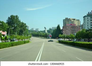 Pyongyang, North Korea - AUG 2012: The landscape of Sungri Street in Pyongyang City