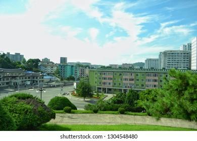 Pyongyang, North Korea - AUG 2012: The cityscape of Pyongyang city from Moranbong (Moran Hill)