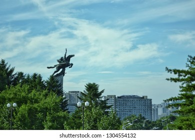 Pyongyang, North Korea - AUG 2012: The famous Chollima Statue by the side of Sungri Street in Pyongyang City