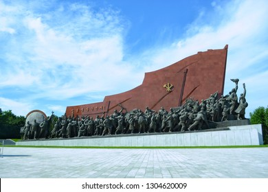 Pyongyang, North Korea - AUG 2012: The revolutionary sculpture in Mansu Hill Grand Monument, Pyongyang city