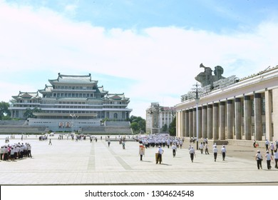 Pyongyang, North Korea - AUG 2012: The Korean students on the Kim Il-sung Square in Pyongyang city