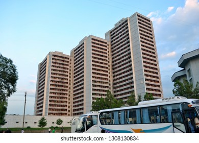 Pyongyang, North Korea - AUG 2012: The residential buildings in Pyongyang city