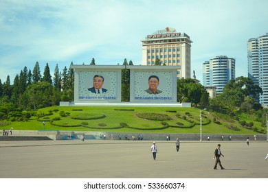 Pyongyang, North Korea - August 2012: The monument of Kim Il Sung and Kim Jong Il in Pyongyang city, the capital of North Korea (DPRK)