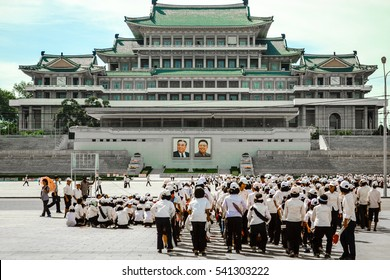 """Pyongyang, North Korea - August 2012: The landmark building """"Great People's Study House"""" in Kim Il-sung Square, Pyongyang city, the capital of DPRK"""
