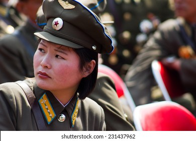 PYONGYANG, NORTH KOREA - CIRCA APRIL 2012: North Korea military woman at the military parade celebrate centenary birth of President Kim Il Sung