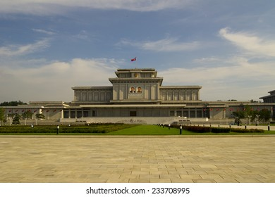 PYONGYANG, NORTH KOREA - CIRCA APRIL 2012: Kim Il-sung Mausoleum (Kumsusan Memorial Palace) during the celebrating centenary birth of President Kim Il Sung.