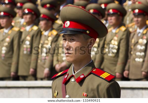 PYONGYANG, NORTH KOREA - CIRCA APRIL 2012 : North Korean  soldier at the military parade in Pyongyang circa April 2012 of the 100th birthday of  the late North Korean leader Kim Il Sung.