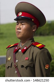 PYONGYANG, NORTH KOREA - CIRCA JULY 2013 : North Korean soldier at the military parade in Pyongyang of the 60th anniversary of the conclusion of the Korean War. Pyongyang, North Korea. Circa July 2013