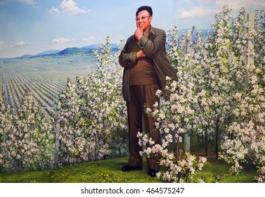 PYONGYANG, NORTH KOREA - CIRCA JULY, 2012/ The painting of Kim Jong-il. He was the supreme leader of the North Korea from 1994 to 2011.
