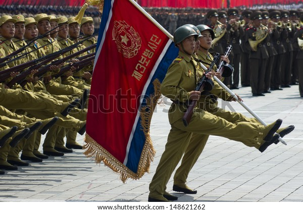 PYONGYANG, NORTH KOREA - CIRCA JULY 2013 : North Korean soldiers at the military parade in Pyongyang of the 60th anniversary of the conclusion of the Korean War. Pyongyang, North Korea. Circa July 2013