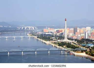 PYONGYANG, NORTH KOREA (DPRK) - SEPTEMBER 25, 2017: Aerial view of new residential complex, Tower of the Juche Idea and Daedong River (Taedong River). View from Yanggakdo island