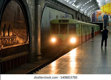 Pyongyang, North Korea - May 1, 2019: Arriving train at the Puhung subway station in Pyongyang Metro