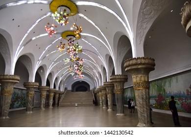 Pyongyang, North Korea - May 1, 2019: Interiors of the Yonggwang subway station. Pyongyang Metro