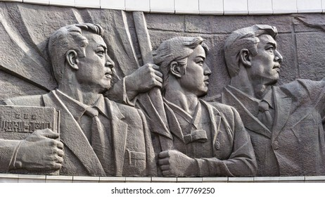 """PYONGYANG, NORTH KOREA - MAY 1, 2012: Memorial monument in Pyongyang, North Korea.  It's the capital of North Korea and translates as the """"Flat Land"""" or """"Peaceful Land"""""""