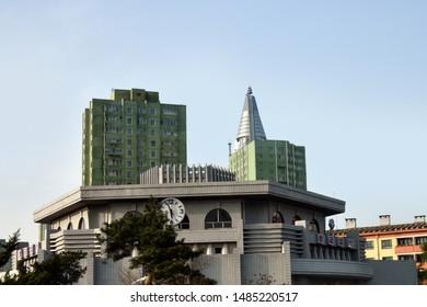 Pyongyang, North Korea - May 2, 2019: Pyongyang architecture and building of the the subway station. Pyongyang Metro