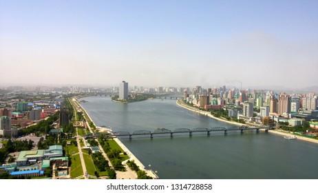 Pyongyang, North Korea - May 28, 2018: Pyongyang skyline overlooking the Taedong River