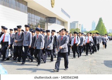 Pyongyang, North Korea- May 3, 2019: students of Pyongyang university