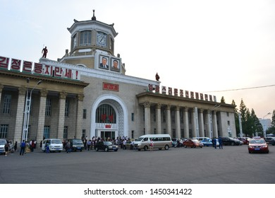 PYONGYANG, NORTH KOREA - MAY 30TH, 2019: Train station of Pyongyang, North Korea, on May 30th, 2019