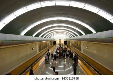 PYONGYANG, NORTH KOREA - MAY 31TH, 2019: Subway station of Pyongyang, North Korea, on May 31th, 2019
