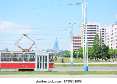 PYONGYANG, NORTH KOREA - MAY 31TH, 2019: An old north korean trolleybus in Pyongyang, North Korea, on May 31th, 2019