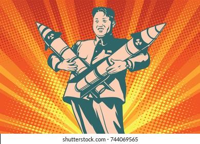 Pyongyang, North Korea - October 29, 2017. Kim Jong-UN with nuclear rocket. The Leader Of North Korea. Comic cartoon style pop art retro illustration