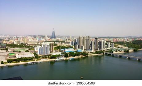 Pyongyang, North Korea - Pyongyang skyline overlooking the Taedong River and the Ryugyong Hotel