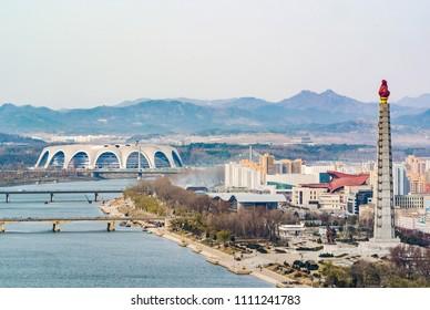 Pyongyang north korean capital skyline  with Rungrado 1st of May Stadium