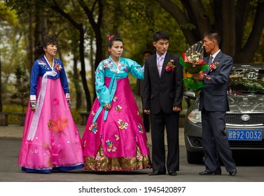 Pyongyang, North Korea-October 12,2017:Korean newlyweds traditionally came to the Museum of the Korean Revolution