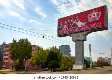 Pyongyang, North Korea-October 12,2017:Military and anti-americans posters on Pyongyang streets