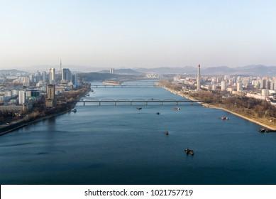 Pyongyang panorama with Taedong river