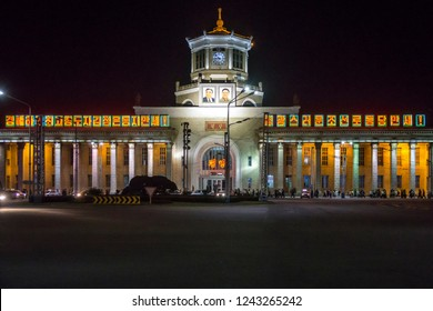 Pyongyang Train station at night, Pyongyang, North Korea, May 23, 2018