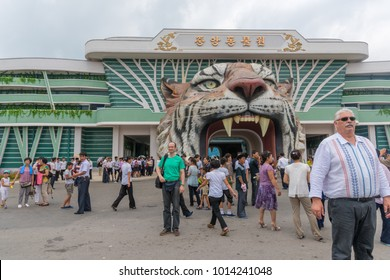 Pyongyang,North Korea - August 13,2016:Tourists came to visit North Korea Zoo at that time there are a lot of DPRK students visiting there too.