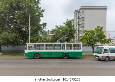 Pyongyang,North Korea - August 13,2016:Tram,the public transport in the Road  Of Pyongyang ,the capital city  of North Korea.