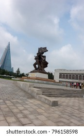 Pyongyang,North Korea-August 13,2016:Museum of Victory. Statue of a soldiers and sailors at the entrance to the Victorious Fatherland Liberation War Museum. North Korea (DPRK).