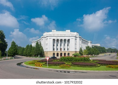 Pyongyang,North Korea-August 14,2016:Old and beautiful building in the main road of Pyongyang ,the capital city of North Korea