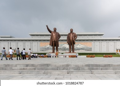 Pyongyang,North Korea-August 15,2016:Mansu Hill Grand Monument,a complex of monuments of North Korean leaders Kim Il-sung and Kim Jong-il. made of bronze.