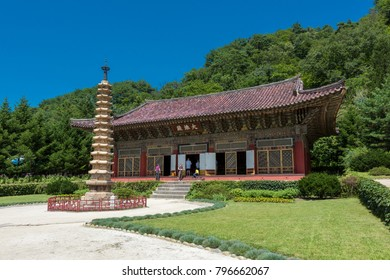 Pyongyang,North Korea-August 16,2016:Pavilion in ancient Buddhist monastery Pohyon located in  North Korea (DPRK).