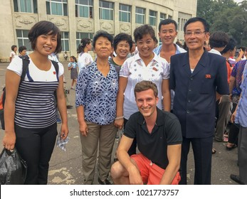 Pyongyang,North Korea-August15,2016:tourists took pictures with  North Korean citizen.