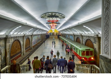 PYONGYANG,NORTH KOREA-OCTOBER 10,2017: The Puhung subway station on a working day