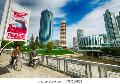 PYONGYANG,NORTH KOREA-OCTOBER 12,2017: New residential complex in the street Ryomyong