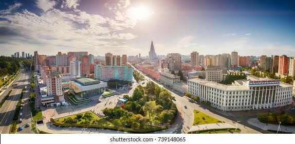 PYONGYANG,NORTH KOREA-OCTOBER 13,2017:Panorama of the city from the top point
