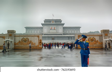 PYONGYANG,NORTH KOREA-OCTOBER 9,2017: The gate in Kumsusan Memorial Palace of the Sun. The tomb of Kim Il Sung and Kim Jong Il.