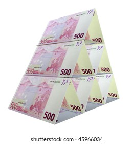 pyramid of 500 euro banknotes isolated on white background