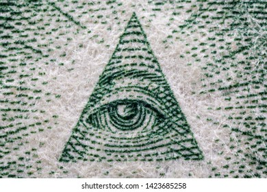The pyramid and all-seeing eye on the back of US 1 one Dollar bill, super macro, 5x, close up photo