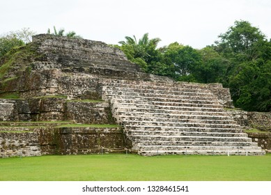 The pyramid in archaeological site of ancient Mayan city Altun Ha (Belize).
