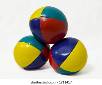 A pyramid of authentic beanbag juggling balls (with paths).