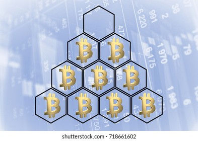 Pyramid with bitcoin symbols. 3D rendering.